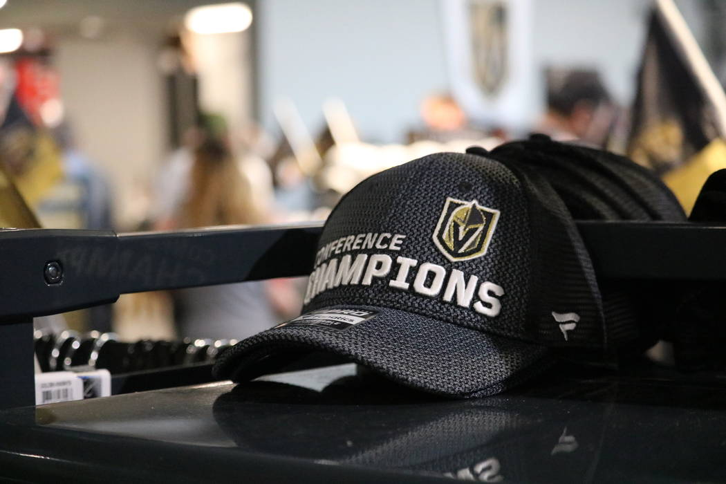 Golden Knights merchandise on display The Arsenal Pro Shop at City National Arena in Las Vegas, Monday, May 21, 2018. Madelyn Reese/Las Vegas Review-Journal