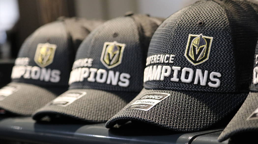 Golden Knights Conference Champions merchandise on display The Arsenal Pro Shop at City National Arena in Las Vegas, Monday, May 21, 2018. Madelyn Reese/Las Vegas Review-Journal