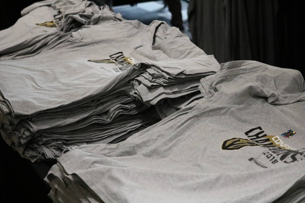 Stacks of Golden Knights Conference Champions shirts on display The Arsenal Pro Shop at City National Arena in Las Vegas, Monday, May 21, 2018. Madelyn Reese/Las Vegas Review-Journal