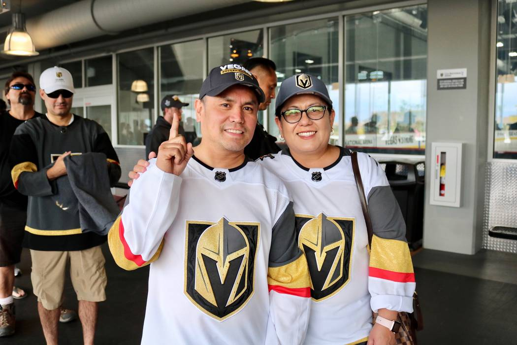 Golden Knights fans Trixie Olivo sport their jerseys in line in to buy merchandise from The Arsenal Pro Shop at City National Arena in Las Vegas, Monday, May 21, 2018. They were hoping to buy the ...