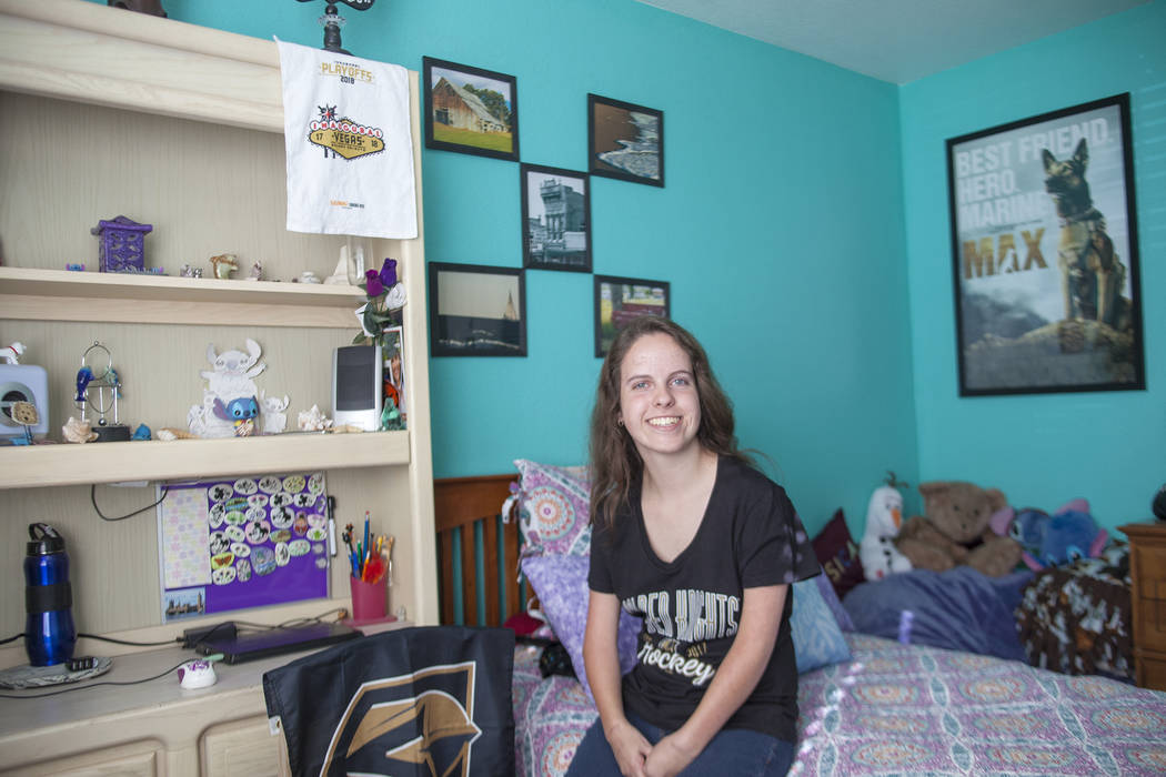 Jessica Lindley, 18, at her home in Las Vegas, Wednesday, May 16, 2018. Jessica was born with Arthrogryposis multiplex congenita, a condition that affects muscles and joints and gives her a very l ...