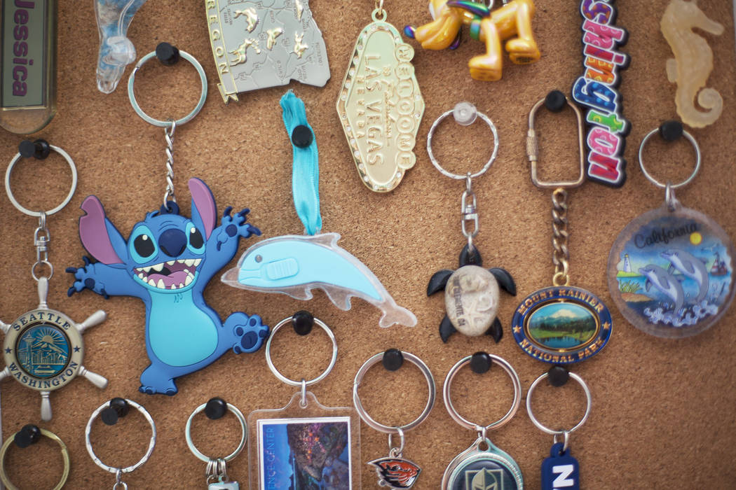 Jessica Lindley's keychain collection at her home in Las Vegas, Wednesday, May 16, 2018. Jessica was born with Arthrogryposis multiplex congenita, a condition that affects muscles and joints and g ...