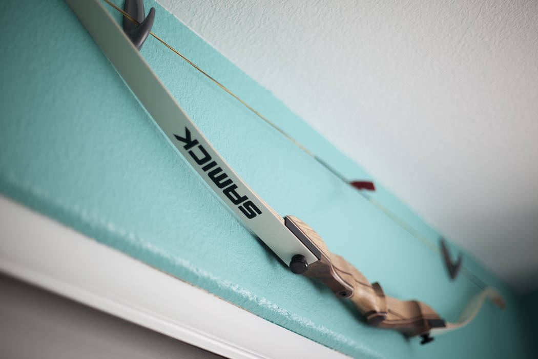 Jessica Lindley's archery bow at her home in Las Vegas, Wednesday, May 16, 2018. Jessica was born with Arthrogryposis multiplex congenita, a condition that affects muscles and joints and gives her ...