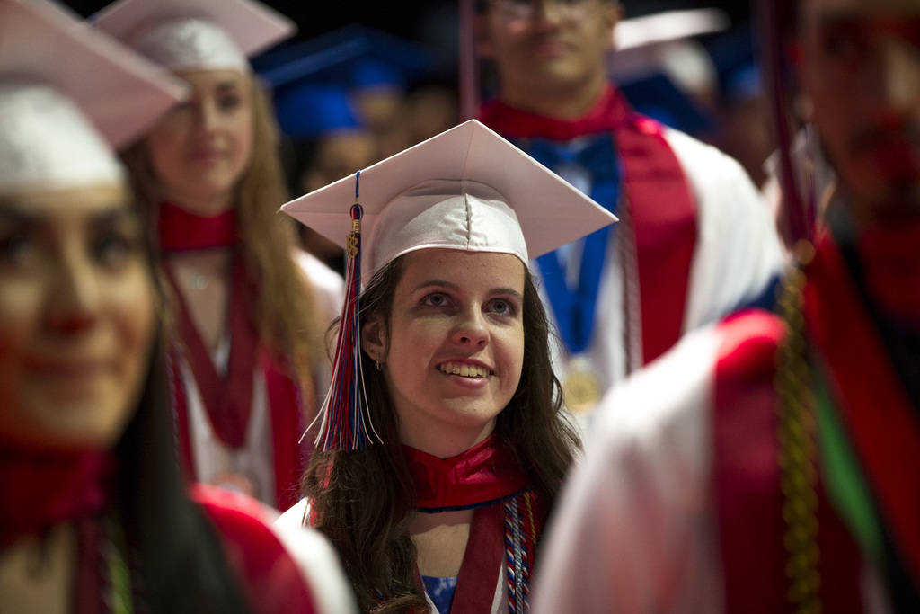 Veterans Tribute Career & Technical Academy senior Jessica Lindley, 18, looks on during her commencement ceremony at the Orleans Arena in Las Vegas on Thursday, May 24, 2018. Richard Brian Las ...