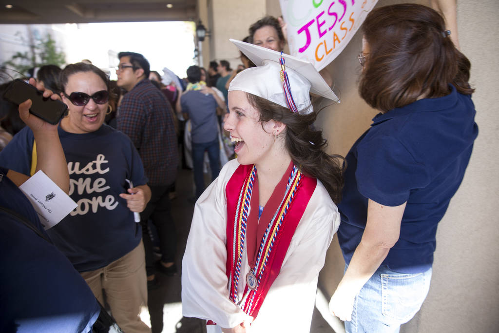 Jessica Lindley reacts as she is greeted by friends and family following her commencement ceremony at the Orleans Arena in Las Vegas on Thursday, May 24, 2018. Richard Brian Las Vegas Review-Journ ...