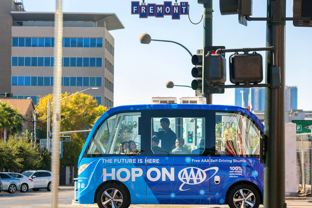 AAA unveiled a self-driving shuttle in November that drives in a half-mile loop around downtown Las Vegas. AAA
