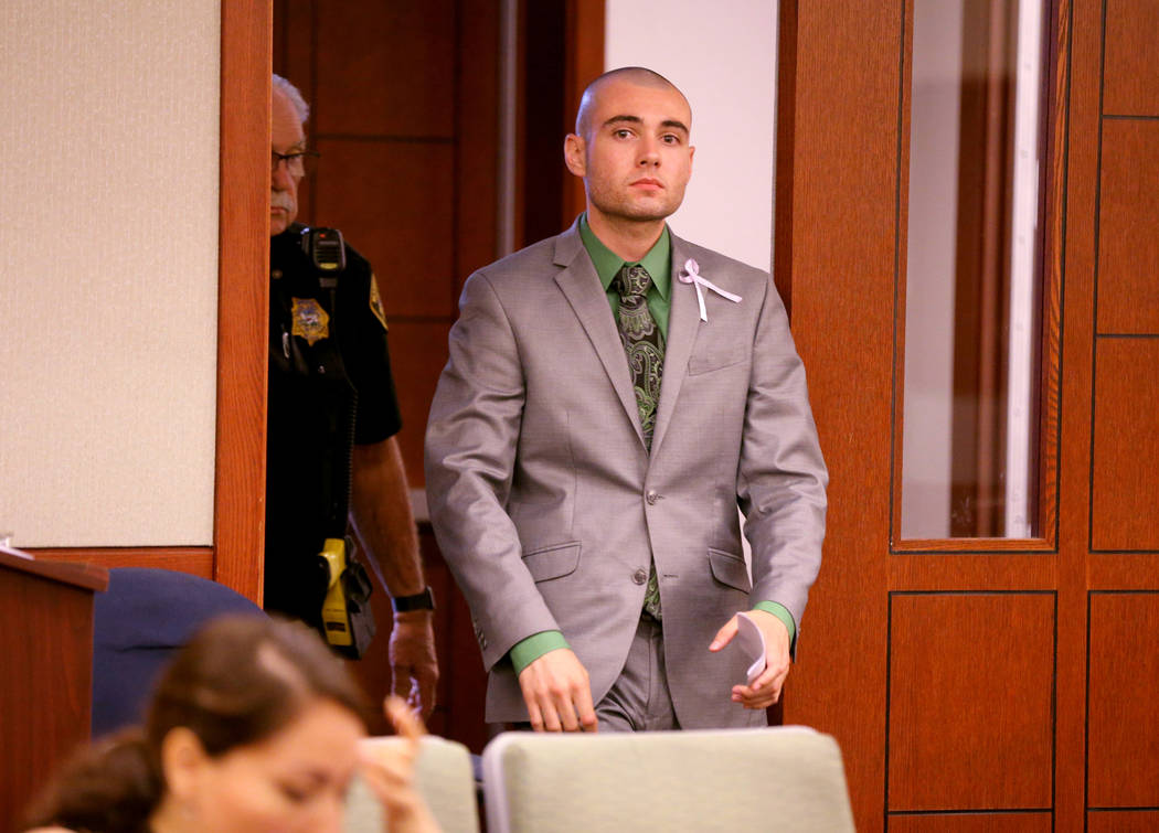 Former Las Vegas police explorer Joshua Honea enters the courtroom at the Regional Justice Center on Monday, May 21, 2018, for his sentencing for sexual assault of a minor. K.M. Cannon Las Vegas R ...