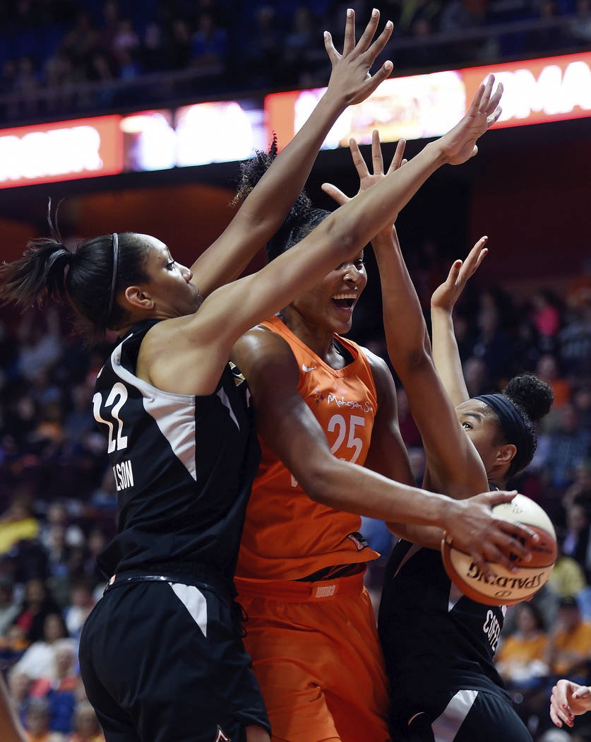 Connecticut Sun Las Vegas Aces in the first half of WNBA action Sunday, May 20, 20189 at Mohegan Sun Arena in Uncasville, Conn.. (Sean D. Elliot/The Day via AP)