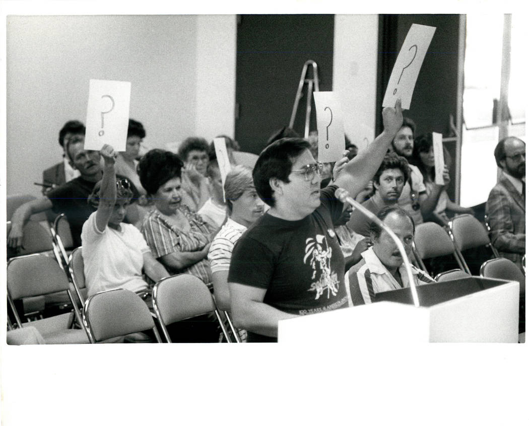 Culinary Union Spokesman trying to get the floor at Convention Authority Board MTG during a Culinary union strike in 1984. (Gary Thompson/Las Vegas Review-Journal)