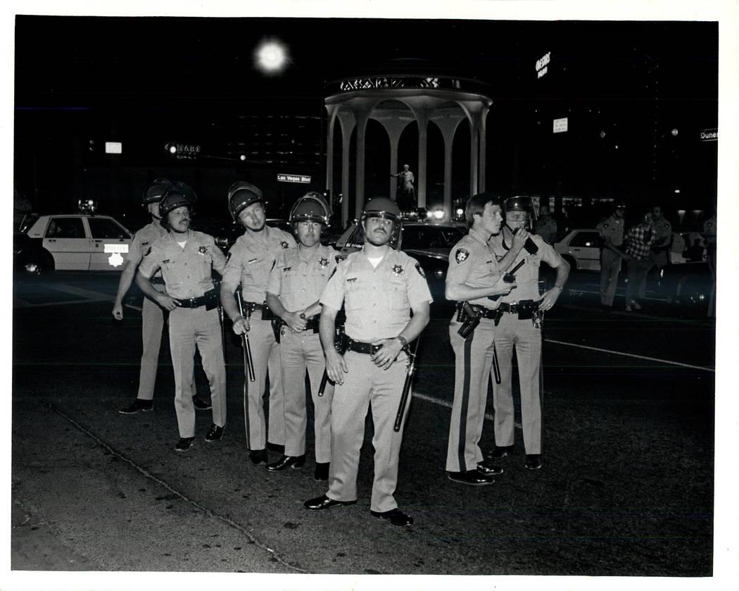 Police prepare for a Culinary union strike in 1984 . (Wayne Kodey/Las Vegas Review-Journal)