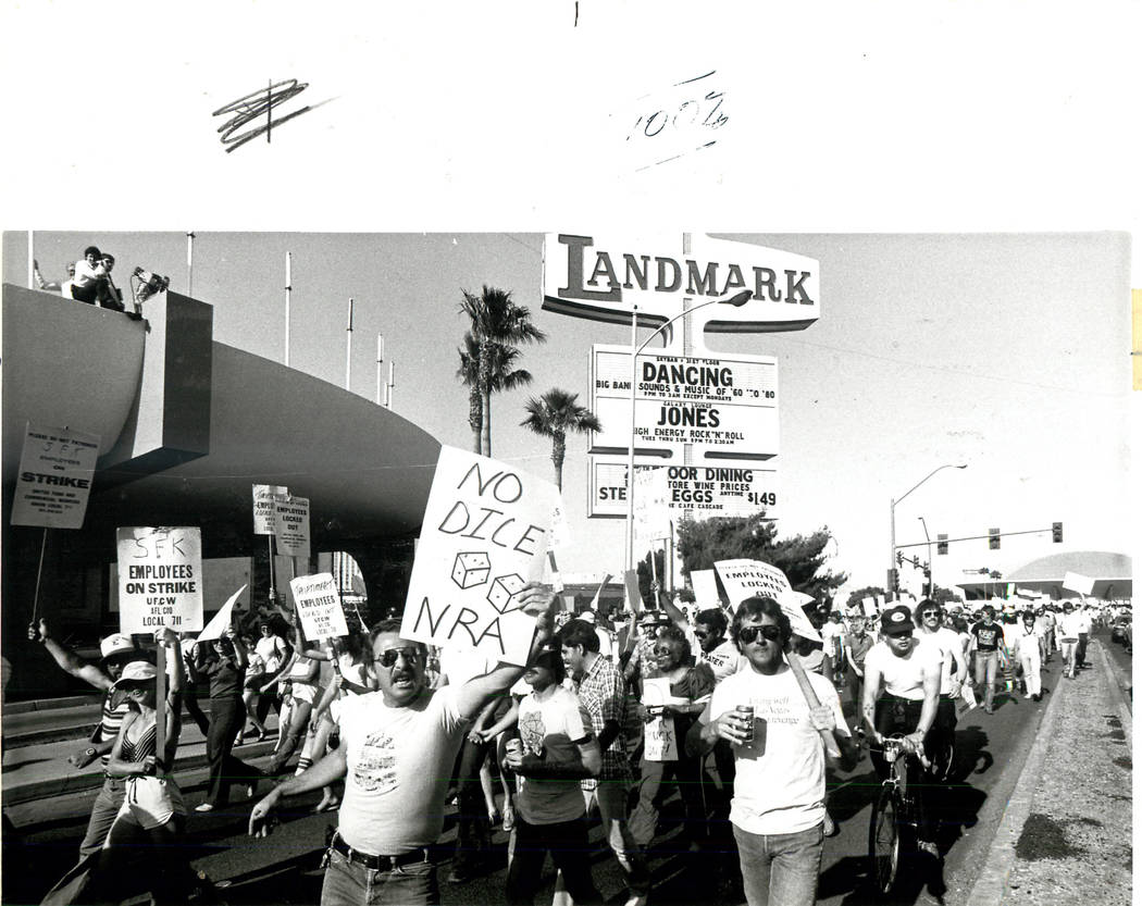 Union Protesters in front of the Landmark during a Culinary union strike in 1984. (Rene Germanier/Las Vegas Review-Journal)