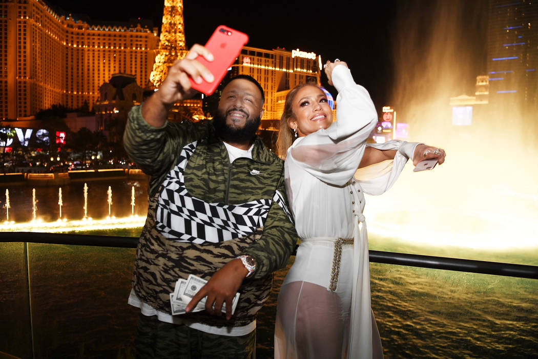 Dj Khaled and Jennifer Lopez celebrate release of new single 'Dinero' during sneak peek of new Spago at Bellagio on May 20, 2018 in Las Vegas, Nevada. (Photo by Denise Truscello/Getty Images for ...