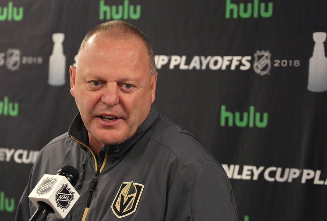 Golden Knights head coach Gerard Gallant addresses the media at City National Arena on Tuesday, May 15, 2018, in Las Vegas. Bizuayehu Tesfaye/Las Vegas Review-Journal @bizutesfaye