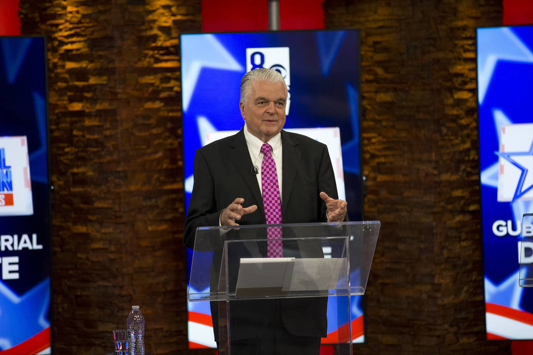 Democratic Gubernatorial candidates Steve Sisolak and Chris Giunchigliani (not shown) take part in live debate on KLAS-TV channel 8 in Las Vegas on Monday, May 21, 2018. Richard Brian Las Vegas Re ...