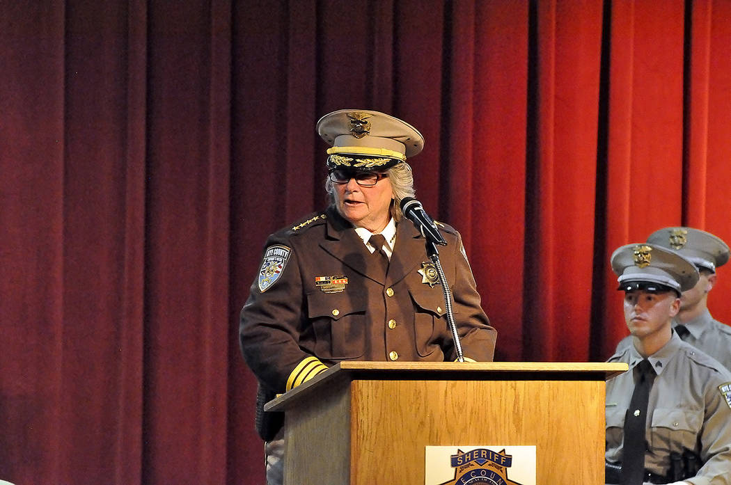 ye County Sheriff Sharon Wehrly addresses the attendees during Sheriff's office graduation ceremony at Pahrump Valley High School. Horace Langford Jr./Pahrump Valley Times