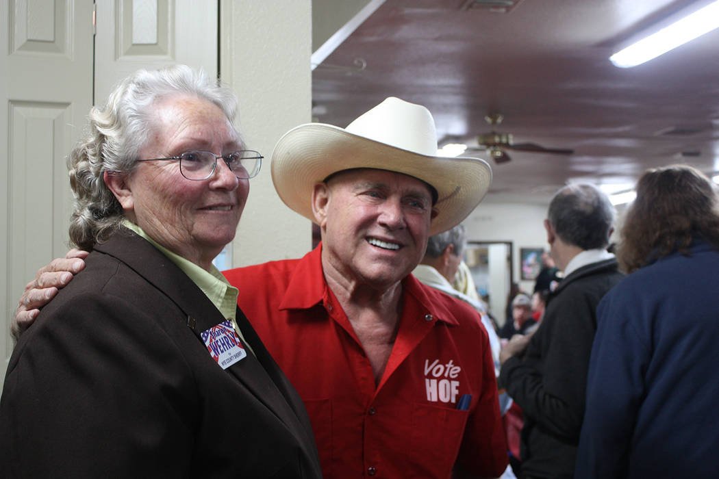 Nye County Sheriff Sharon Wehrly, left, is pictured with Nevada businessman Dennis Hof on March 10. Robin Hebrock/Pahrump Valley Times
