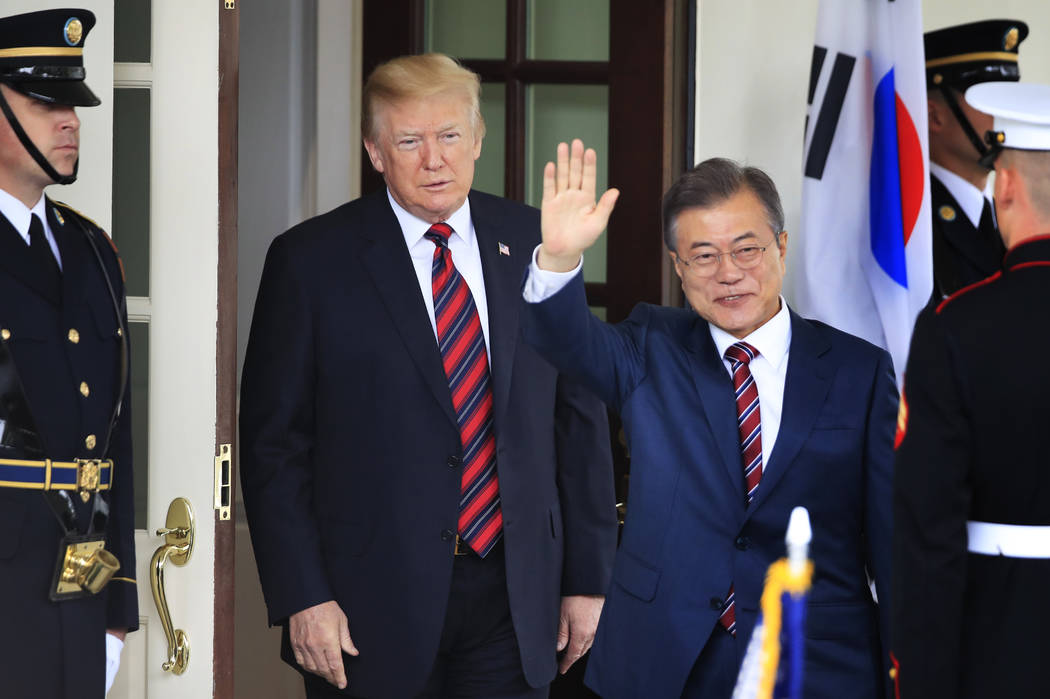 South Korean President Moon Jae-in, waves as he is welcomed by President Donald Trump to the White House in Washington, Tuesday, May 22, 2018. (Manuel Balce Ceneta/AP)