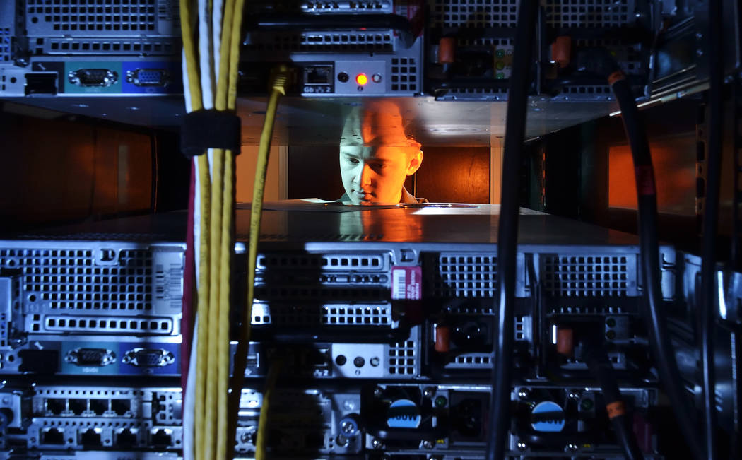 The House Advantage server room at 10100 W. Charleston Blvd. (Bill Hughes/Las Vegas Review-Journal)