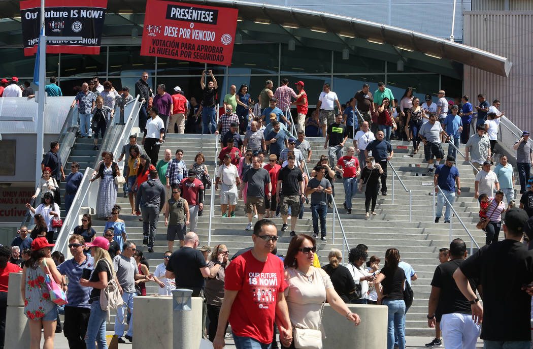 Culinary and bartender union workers leave the Thomas & Mack Center in Las Vegas on Tuesday, May 22, 2018, after voting whether they want to go on strike. (Bizuayehu Tesfaye/Las Vegas Review-Journ ...