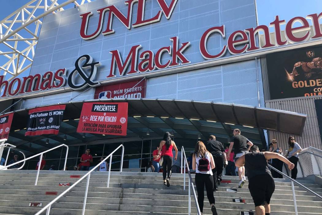 Culinary and bartenders union members arrive at the Thomas & Mack Center in Las Vegas on Tuesday, May 22, 2018, to vote on a citywide strike. (Todd Prince/Las Vegas Review-Journal)