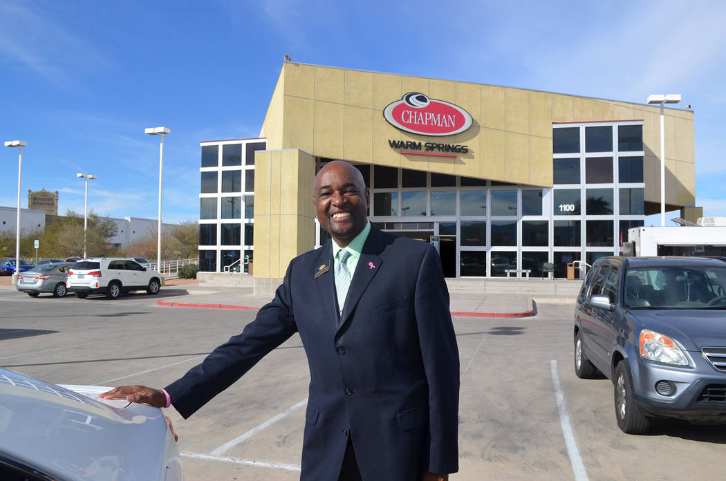 Chapman General Sales Manager Lawrence Ennis prepares for his re-grand opening this weekend at Chapman Warm Springs, 1100 W. Warm Springs Road in Henderson.