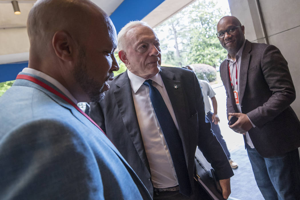 Dallas Cowboys owner Jerry Jones arrives at the NFL Spring Meeting at the Whitley Hotel Tuesday, May 22, 2018 in Atlanta. (Paul Abell/AP Images for NFL)