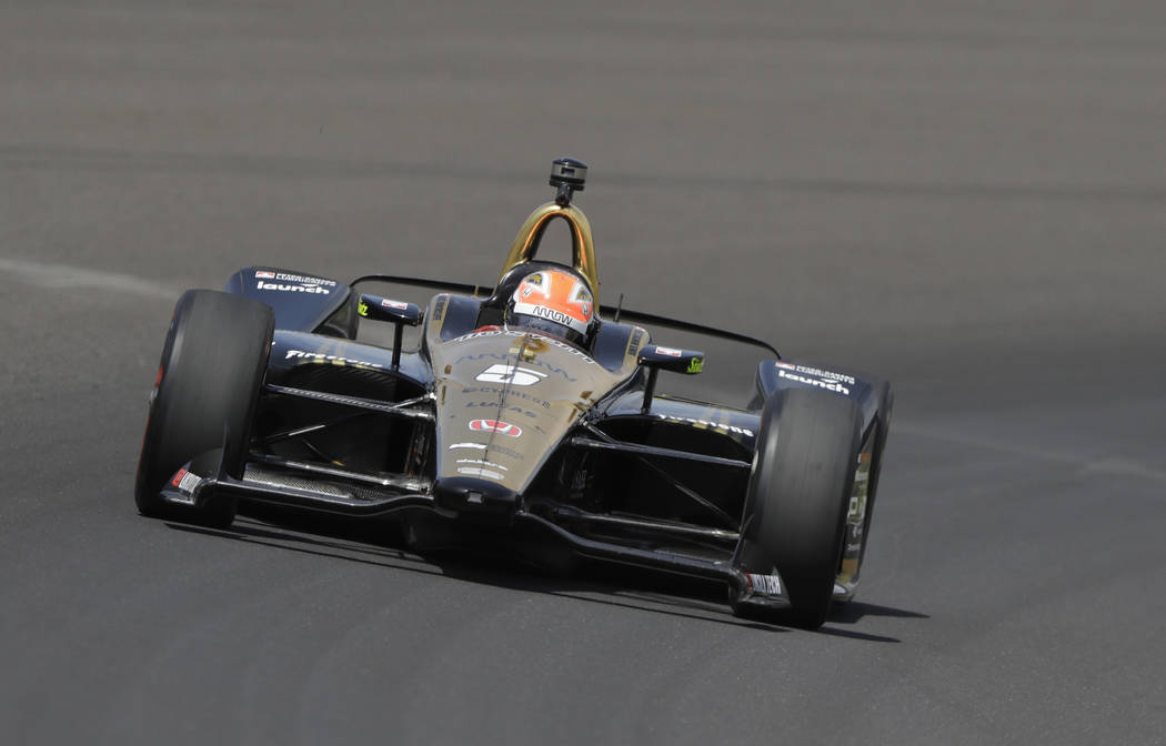 James Hinchcliffe, of Canada, drives during a practice session for the IndyCar Indianapolis 500 auto race at Indianapolis Motor Speedway, in Indianapolis Thursday, May 17, 2018. (AP Photo/Darron C ...