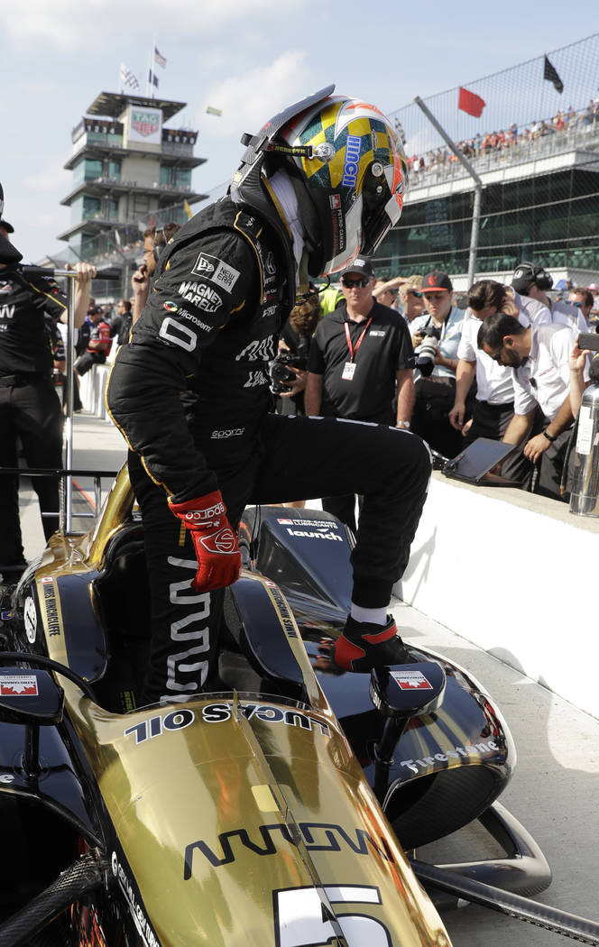 James Hinchcliffe, of Canada, steps out of the car after not qualifying for the IndyCar Indianapolis 500 auto race at Indianapolis Motor Speedway in Indianapolis, Saturday, May 19, 2018. (AP Photo ...
