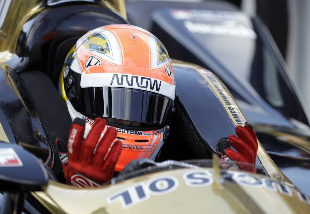 James Hinchcliffe, of Canada, reacts as time expiries during qualifications for the IndyCar Indianapolis 500 auto race at Indianapolis Motor Speedway in Indianapolis, Saturday, May 19, 2018. Hinch ...