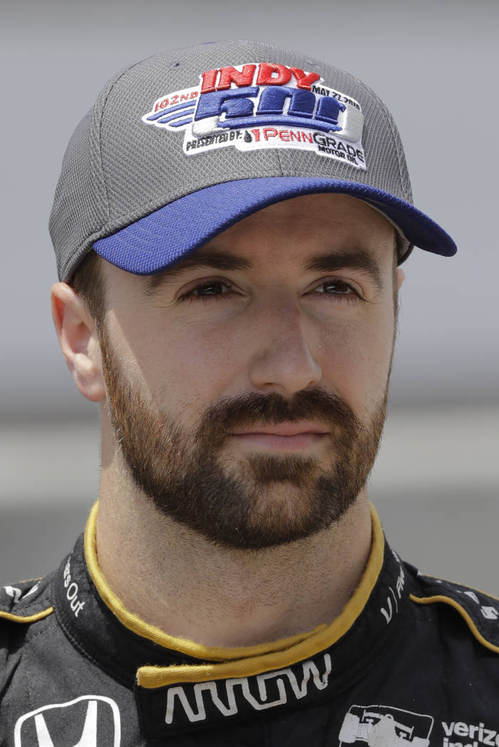 James Hinchcliffe, of Canada, is shown after he qualified for the Indianapolis Motor Speedway in Indianapolis, Saturday, May 19, 2018. (AP Photo/Dave Parker)