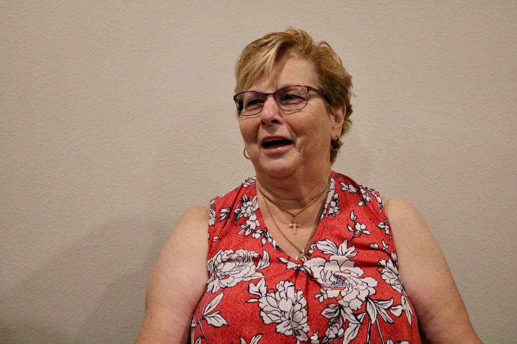 Mary Duda discusses her pancreatoduodenectomy, or Whipple procedure, that she had for her pancreatic cancer at UNLV medical offices in Las Vegas, Tuesday, May 22, 2018. Madelyn Reese/Las Vegas Rev ...