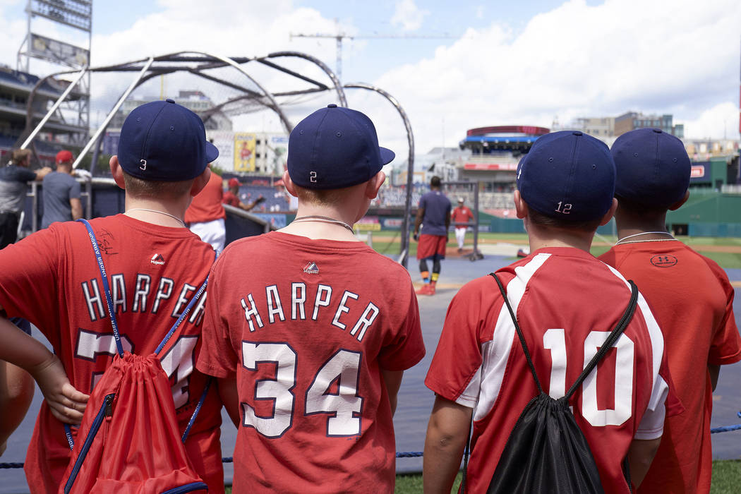 Members of the Mid-Atlantic Red Sox youth baseball team watch the Washington Nationals take batting practice prior to a baseball game against the New York Mets, Saturday, Aug. 26, 2017, in Washing ...