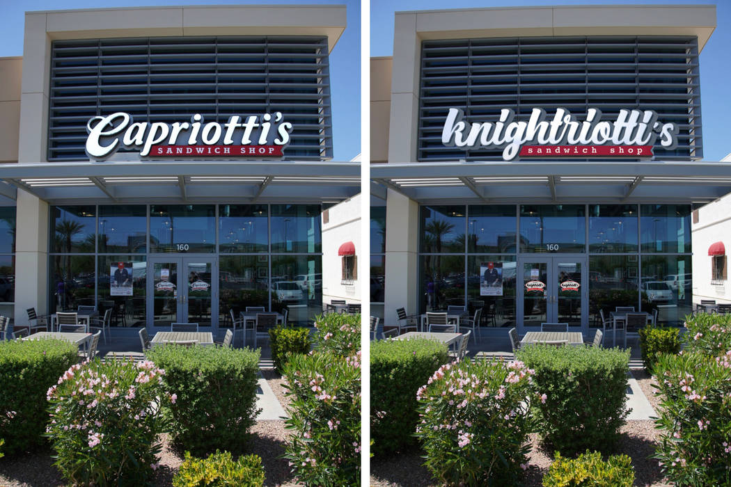 """In keeping with the """"no-caps"""" campaign, locally based Capriotti's sandwich chain has temporarily changed its name to knightriotti's . Capriotti's"""