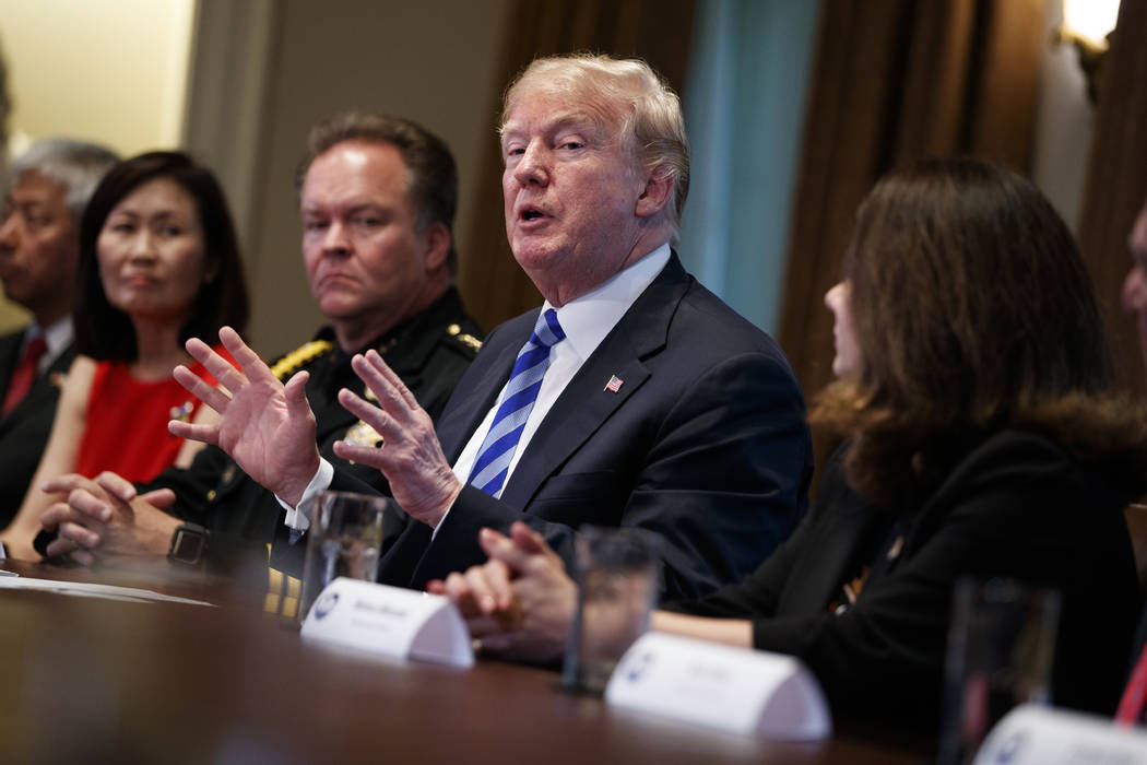 President Donald Trump speaks during a roundtable on immigration policy in California in the Cabinet Room of the White House, Wednesday, May 16, 2018, in Washington. (AP Photo/Evan Vucci)