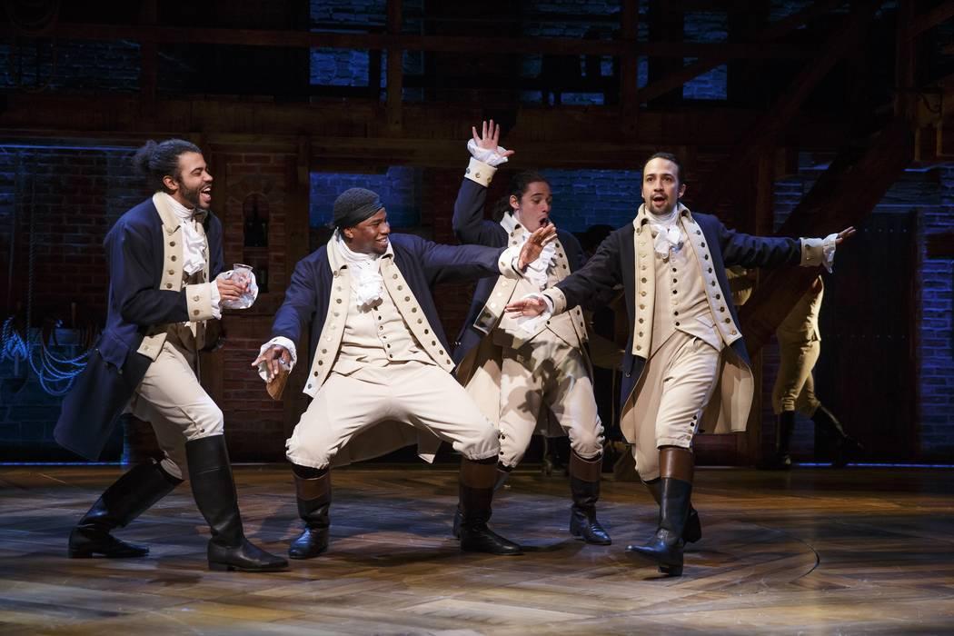 """From left, Daveed Diggs, Okieriete Onaodowan, Anthony Ramos and Lin-Manuel Miranda in """"Hamilton."""" (Joan Marcus/courtesy)"""