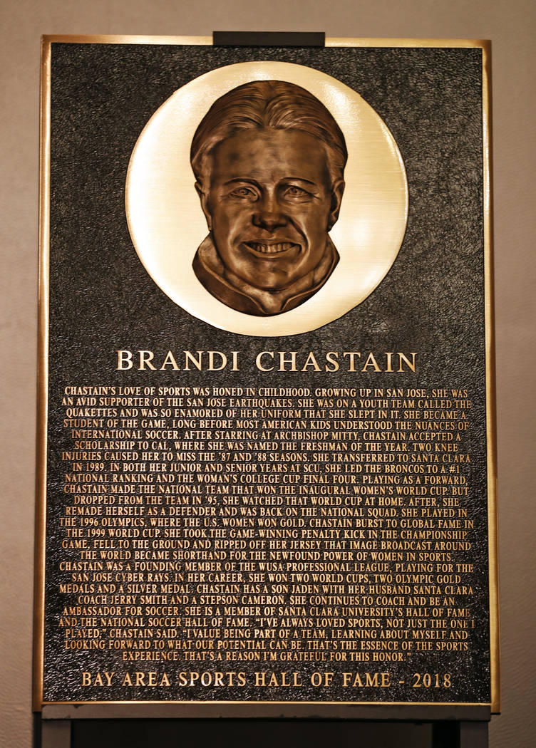 In this photo taken Monday May 21, 2018, Bay Area Sports Hall of Hame inductee Brandi Chastain's plaque is displayed during a press conference in San Francisco. Social media is finding little to l ...