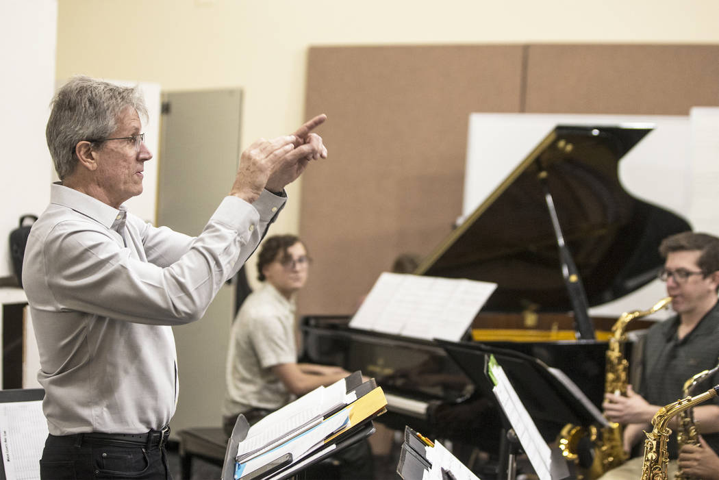Dave Loeb, director of UNLV's jazz studies program, leads rehearsal for the UNLV Jazz Ensemble at the Alta Ham Fine Arts building on Tuesday, September 12, 2017, at UNLV, in Las Vegas. Benjamin ...