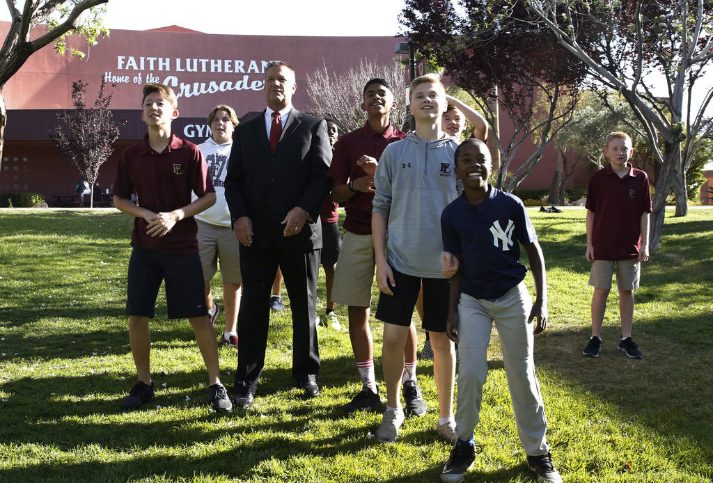 Dr. Steve Buuck, CEO and administrator of Faith Lutheran Middle and High School, prepares to play football with his students on Wednesday, May 23, 2018, in Las Vegas. Bizuayehu Tesfaye/Las Vegas ...