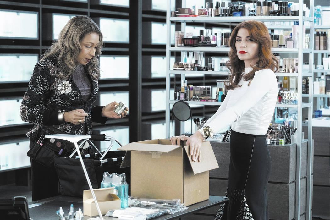 Tamara Tunie as Julia, Julianna Margulies as Kitty Montgomery - Dietland _ Season 1, Episode 2 - Photo Credit: Patrick Harbron/AMC
