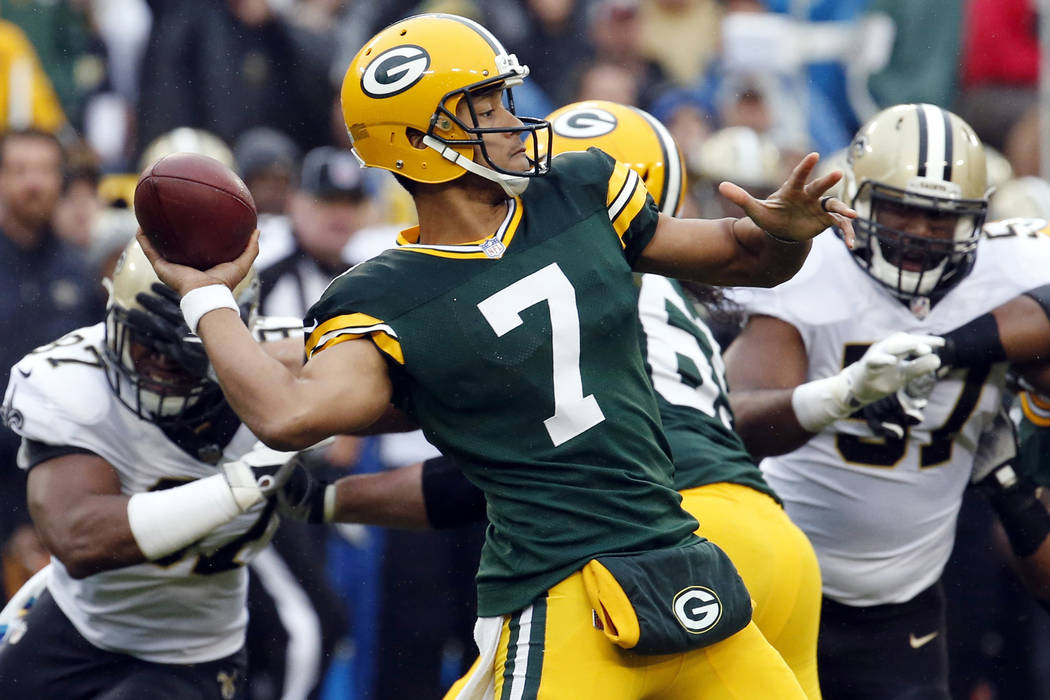 In this Sunday, Oct. 22, 2017, file photo, Green Bay Packers quarterback Brett Hundley throws a pass during the first half against the New Orleans Saints. (AP Photo/Mike Roemer, File)