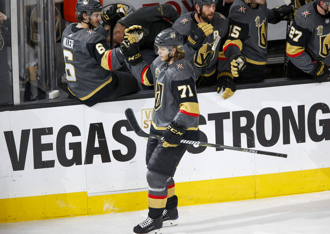 Vegas Golden Knights center William Karlsson (71) celebrates a goal during the second period of an NHL hockey game between the Vegas Golden Knights and the Calgary Flames at the T-Mobile Arena in ...