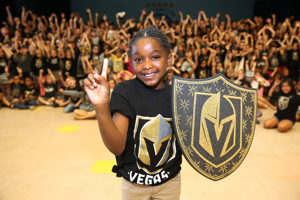 D'Myah Dees, 9, shows her support for the Vegas Golden Knights by wearing the team's colors during school in Las Vegas, Thursday, May 24, 2018. Erik Verduzco Las Vegas Review-Journal @Erik_Verduzco