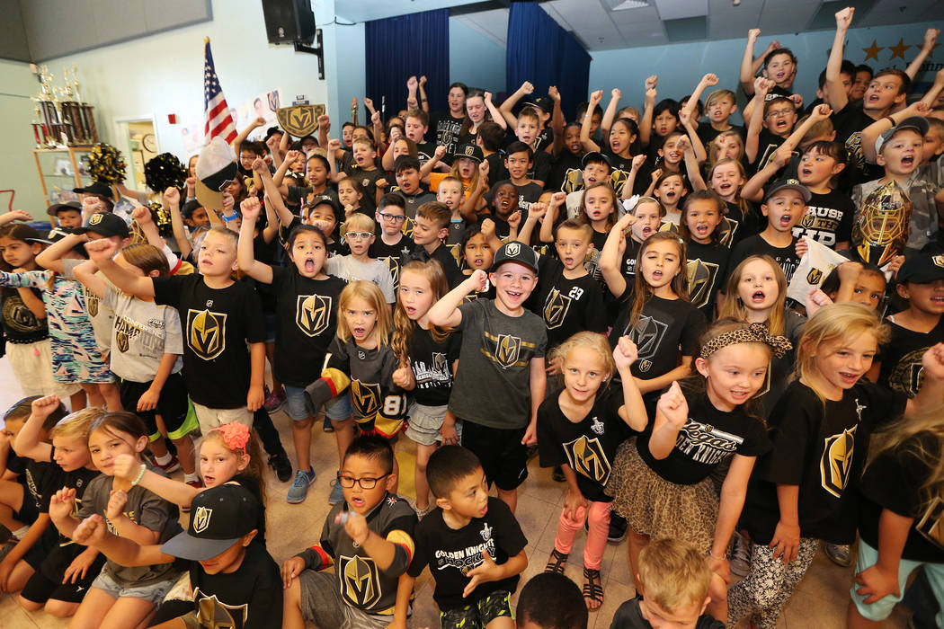 John Bonner Elementary School students show their support for the Vegas Golden Knights by wearing the team's colors during school in Las Vegas, Thursday, May 24, 2018. Erik Verduzco Las Vegas Revi ...