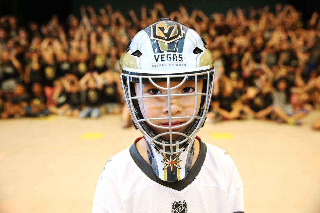 Nikko Schrader, 6, shows his support for the Vegas Golden Knights by wearing the team's colors during school in Las Vegas, Thursday, May 24, 2018. Erik Verduzco Las Vegas Review-Journal @Erik_Verduzco