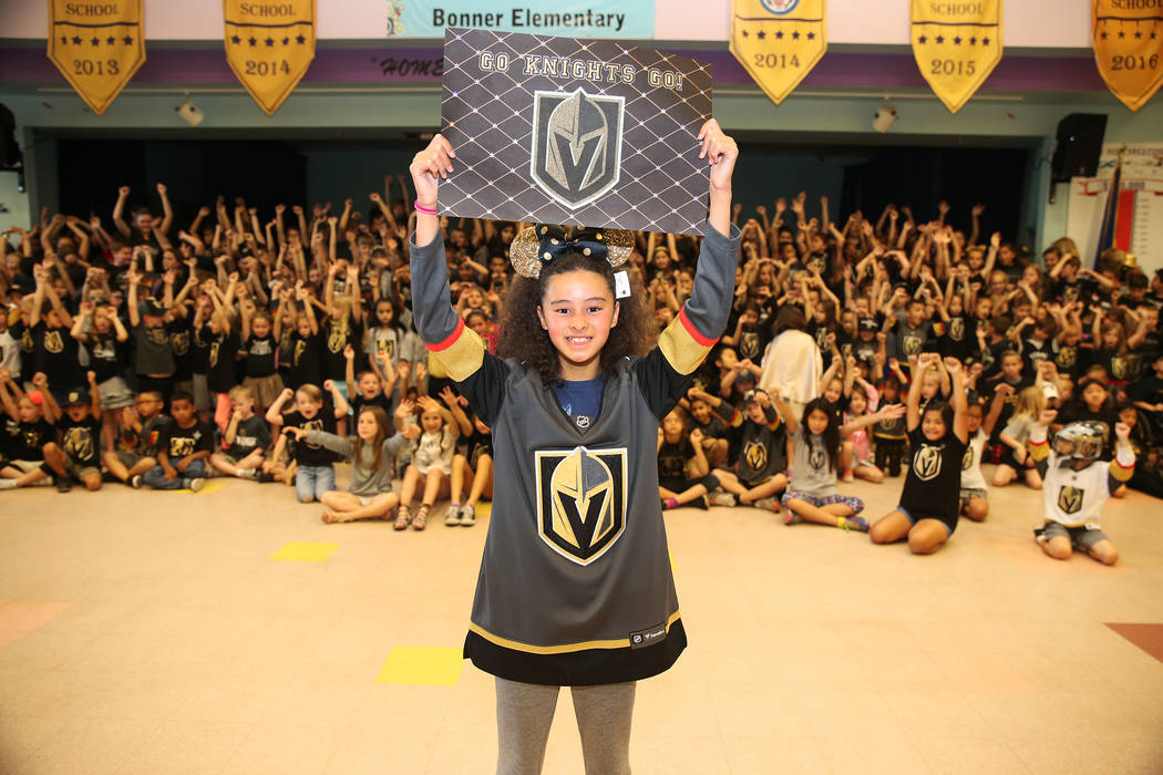 Jade Douglass, 11, shows her support for the Vegas Golden Knights by wearing the team's colors during school in Las Vegas, Thursday, May 24, 2018. Erik Verduzco Las Vegas Review-Journal @Erik_Verduzco
