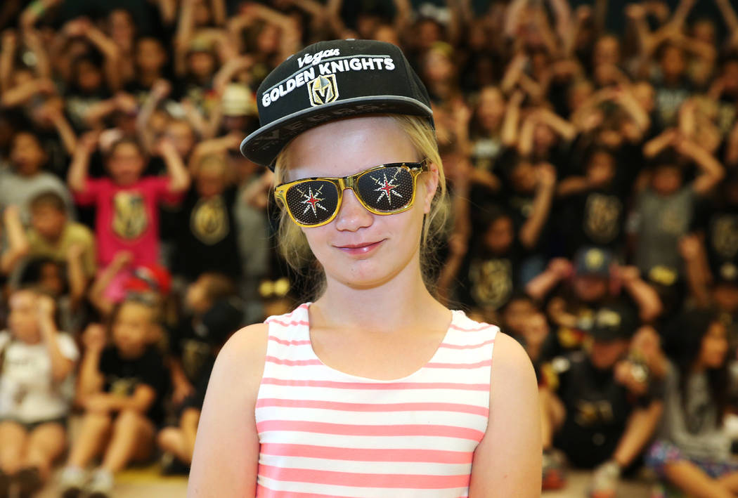 Natalie Fuciman, 11, shows her support for the Vegas Golden Knights by wearing the team's colors during school in Las Vegas, Thursday, May 24, 2018. Erik Verduzco Las Vegas Review-Journal @Erik_Ve ...