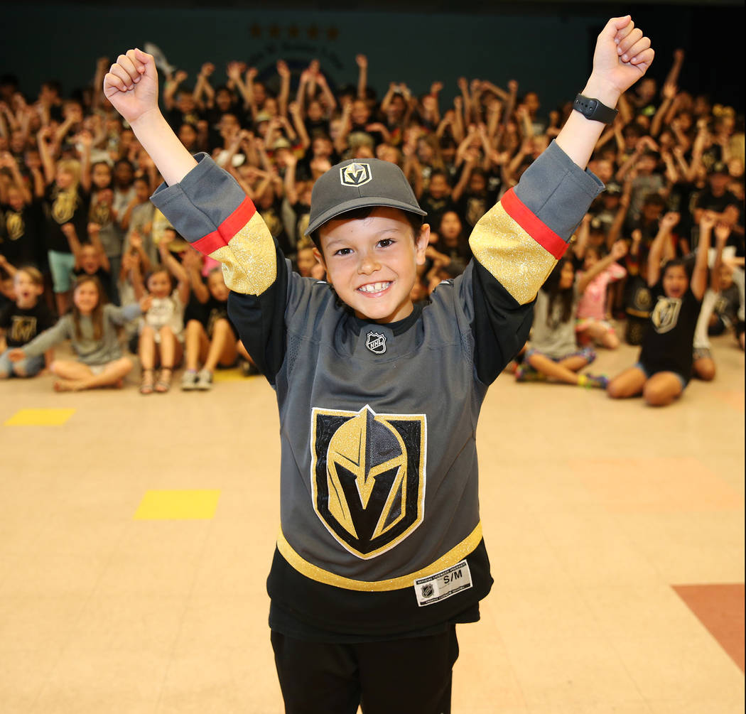 John Acevedo, 8, shows his support for the Vegas Golden Knights by wearing the team's colors during school in Las Vegas, Thursday, May 24, 2018. Erik Verduzco Las Vegas Review-Journal @Erik_Verduzco