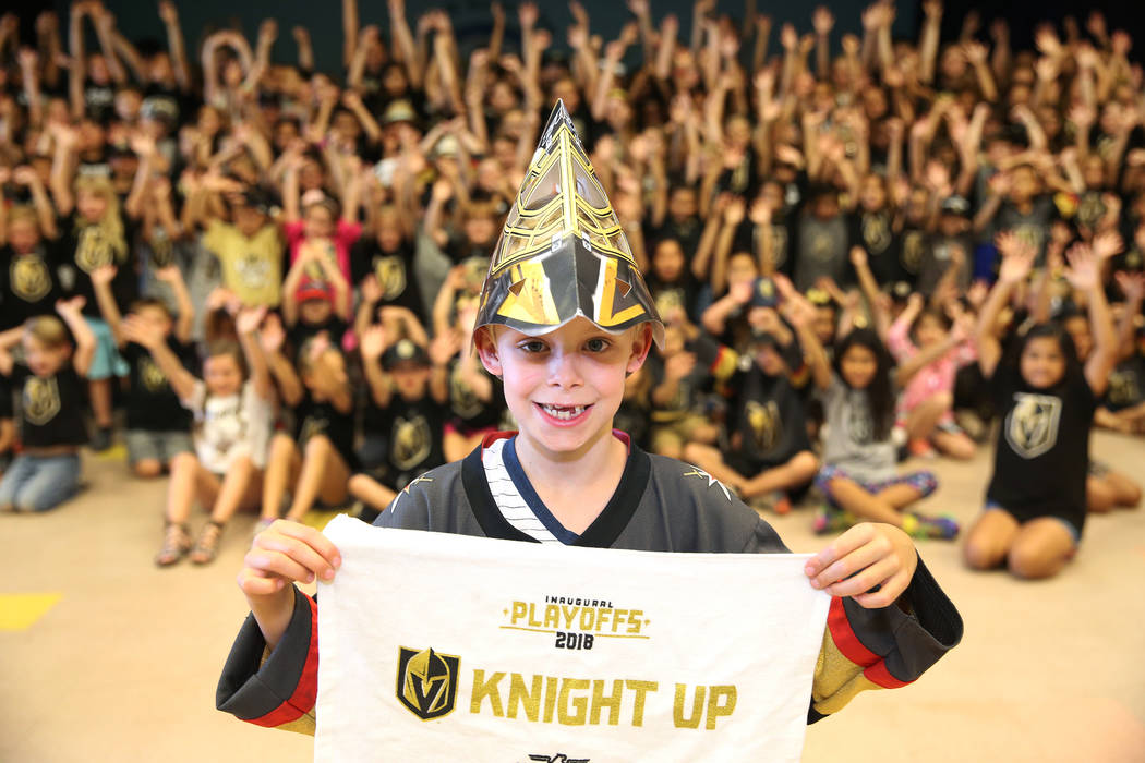Liam Shaw, 7, shows his support for the Vegas Golden Knights by wearing the team's colors during school in Las Vegas, Thursday, May 24, 2018. Erik Verduzco Las Vegas Review-Journal @Erik_Verduzco