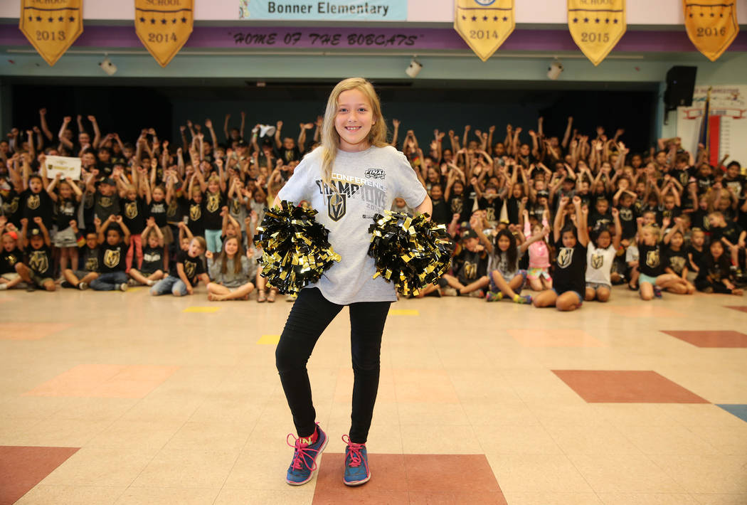 Madison Hoffman, 9, shows her support for the Vegas Golden Knights by wearing the team's colors during school in Las Vegas, Thursday, May 24, 2018. Erik Verduzco Las Vegas Review-Journal @Erik_Ver ...