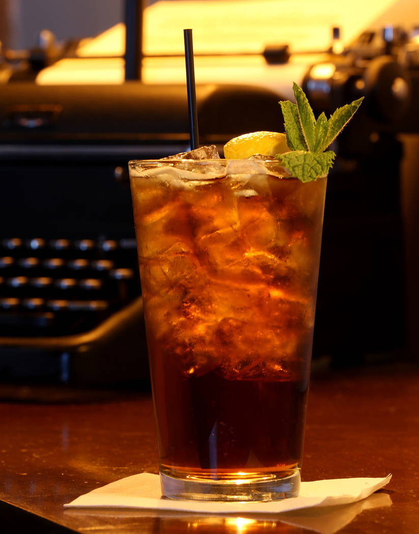 """Mint Tea is shown at The MINT Tavern on Sahara Avenue near Las Vegas Boulevard Tuesday, May 22, 2018. The vintage Royal typewriter has the first page of Hunter S. Thompson's 1971 novel """"Fear ..."""